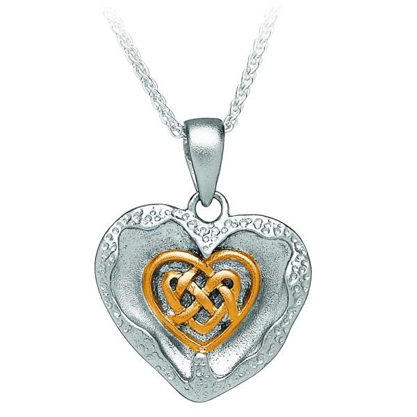 Gebürsteter keltischer Herz Anhänger Silber