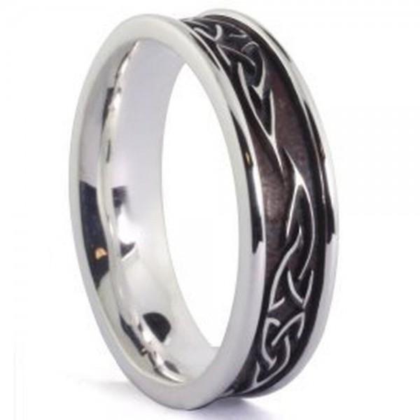 Irischer Ring Trinity Knot Silber oxidiert