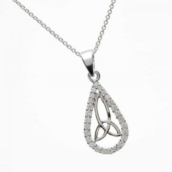 """Irischer Anhänger """"Träne"""" Silber mit Trinity Knot"""