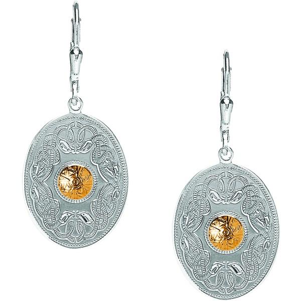 Irische Ohrringe Celtic Warrior Keltischer Krieger aus Silber 925 mit 18 Karat Gold