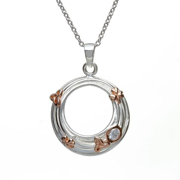 Keltische Kette Kleeblatt Trinity Knot Silber mit Zirkon