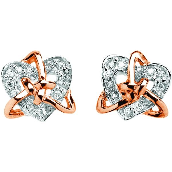 Ohrstecker aus Silber vergoldet keltischer Trinity Knot mit Herz