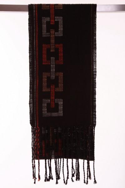 Handgewebter Schal Dark Squares Leinen Baumwolle