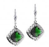 Irische Ohrringe Trinity Knot in Silber 925 mit Quarzkristallen grün
