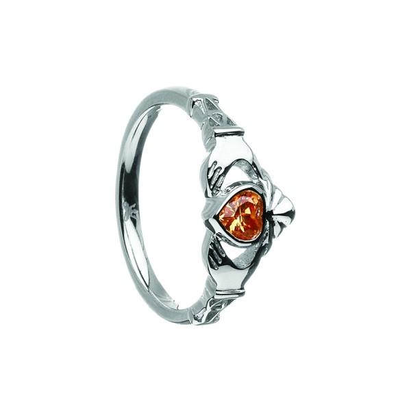 Irischer Ring Geburtsstein November Citrin in Silber oder Gold