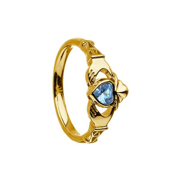 Irischer Ring März-Aquamarine Geburtsstein / Monatsstein