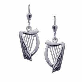 Irische Ohrringe Harfe Silber oder Weißgold