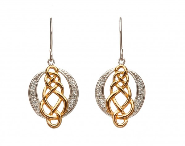 Keltische Ohrringe Silber vergoldet mit Zirkon