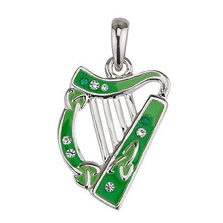 Keltischer Anhänger Harfe grün rhodiniert