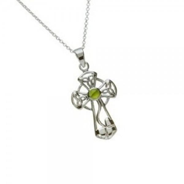 Keltisches Kreuz Silber mit Jade