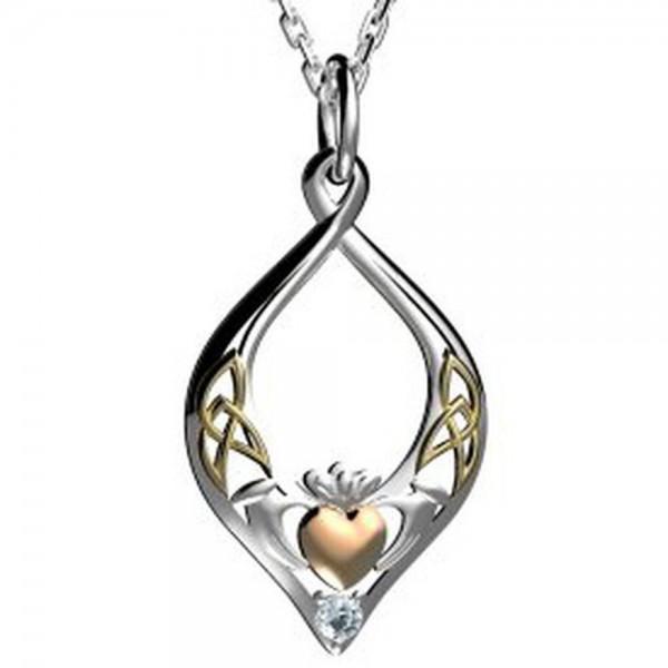 Keltischer Claddagh Anhänger Silber vergoldet