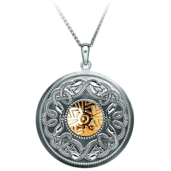 Irische Kette Silber Celtic Warrior keltischer Krieger Silber mit 18 Karat Gold rund