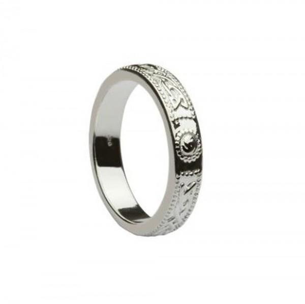 Irischer Krieger Schild Ring aus massivem Silber 925