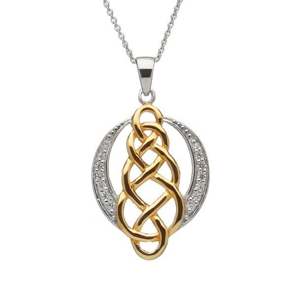 Keltischer Anhänger Silber vergoldet mit Zirkon