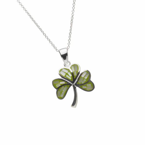 Irische Kette Kleeblatt Silber mit grünem Mosaik