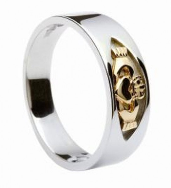 Keltischer Irische Claddagh Ring Silber und Gold Irischer Schmuck