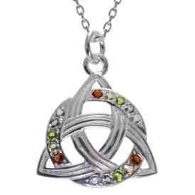 Silber Anhänger keltischer Knoten Irlands Farben