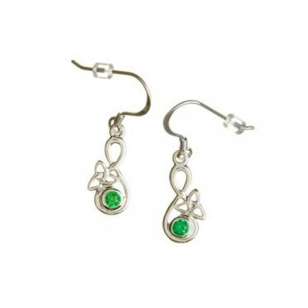 Keltische Ohrringe Silber 925 Trinity Knot mit grünem Zirkon