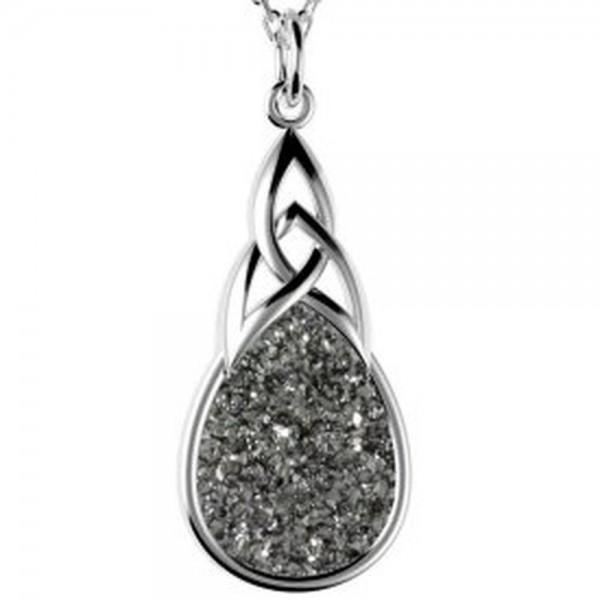 Drusy Anhänger Silber keltischer Knoten amthrazit