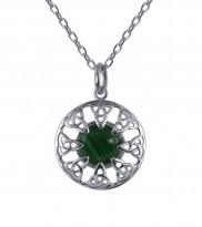 Keltischer Anhänger Silber mit Malachit