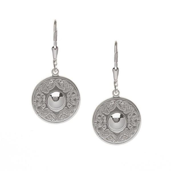 Irische Ohrringe keltischer Krieger Silber oder Weißgold