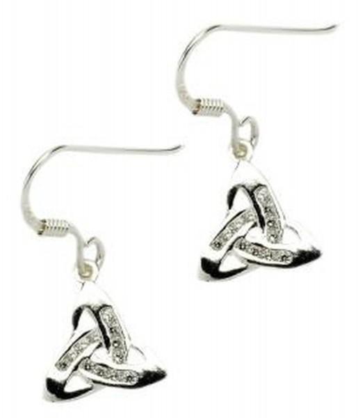 Ohrringe Silber Trinity knot mit Zirkon