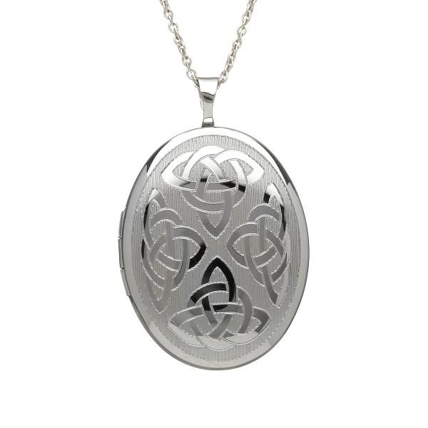 Keltischer ovaler Anhänger aus Silber 925 mit Trinity knot