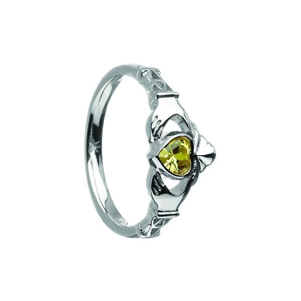 Irischer Ring Geburtsstein / Monatsstein August Peridot Claddagh Silber Weißgold