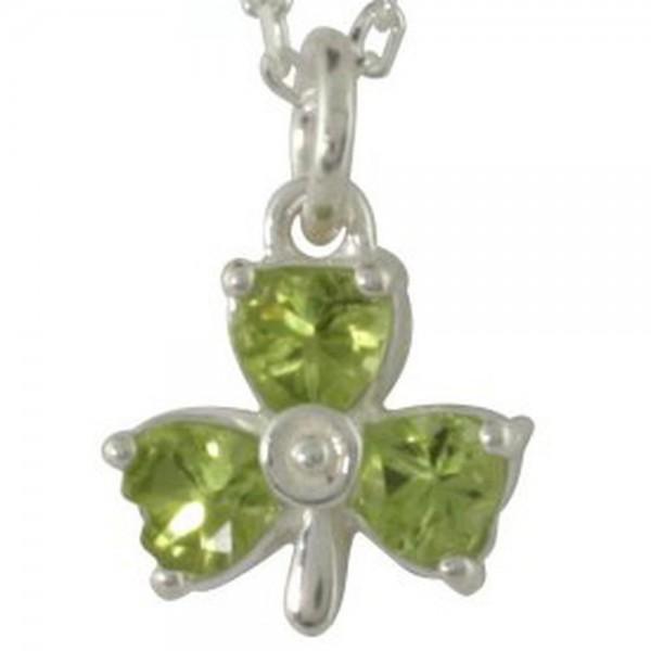 Irischer Anhänger Kleeblatt mit Peridot Silber 925