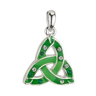 Irische Kette Trinity knot grün mit Zirkon