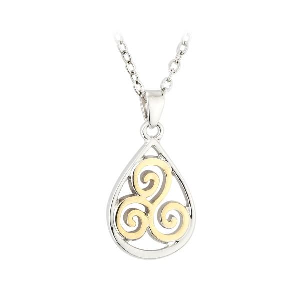 Keltischer Anhänger Trinity Knot Spirale zweifarbig Tara Kollektion.