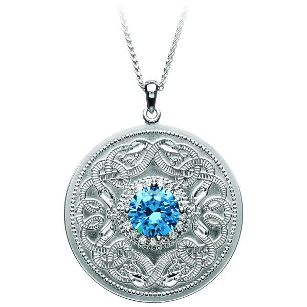Irische Kette Silber 925 Celtic Warrior keltischer Krieger groß mit klaren und blauen Zirkon rund