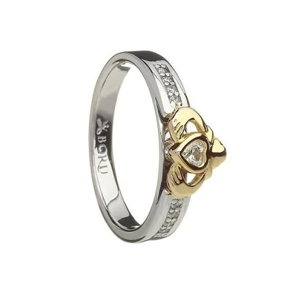 Claddagh Ring Set Silber 925 mit 10 Karat Gold