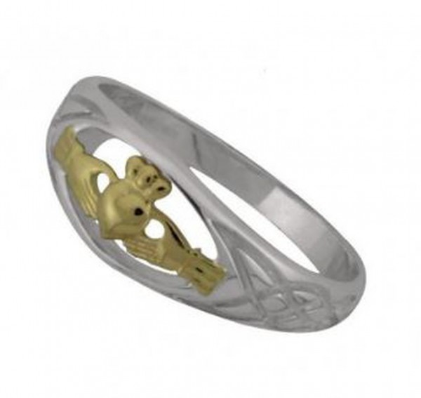 Keltischer Claddagh Ring Silber und Gold