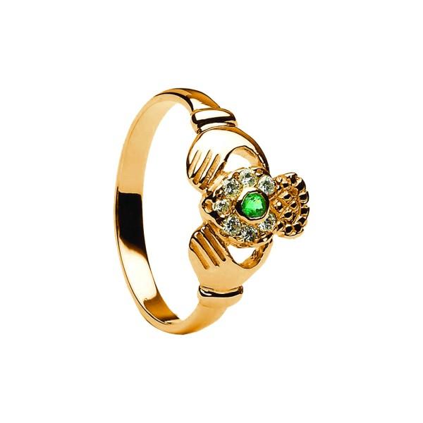 Claddagh Ring 14 Karat Gold 585 mit Diamanten und Smaragd