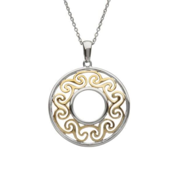 Irische Kette Trinity Knot rund mit vergoldetem Zentrum