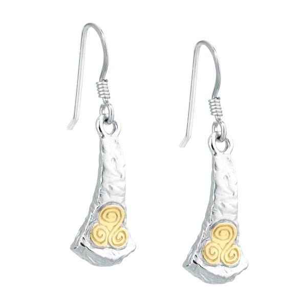 Keltische Ohrringe Silber und Gold Newgrange