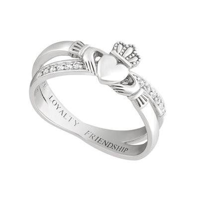 Irischer Claddagh Kuss Ring Damen aus Silber 925