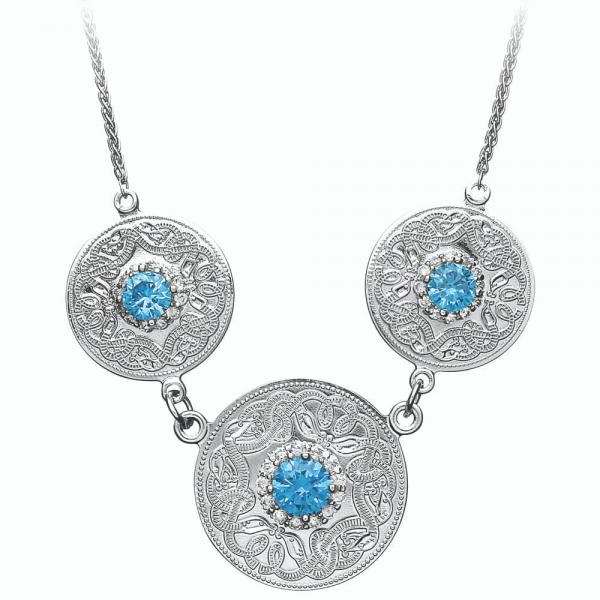 Irische Kette Celtic Warrior Silber 925 mit blue Zirkon