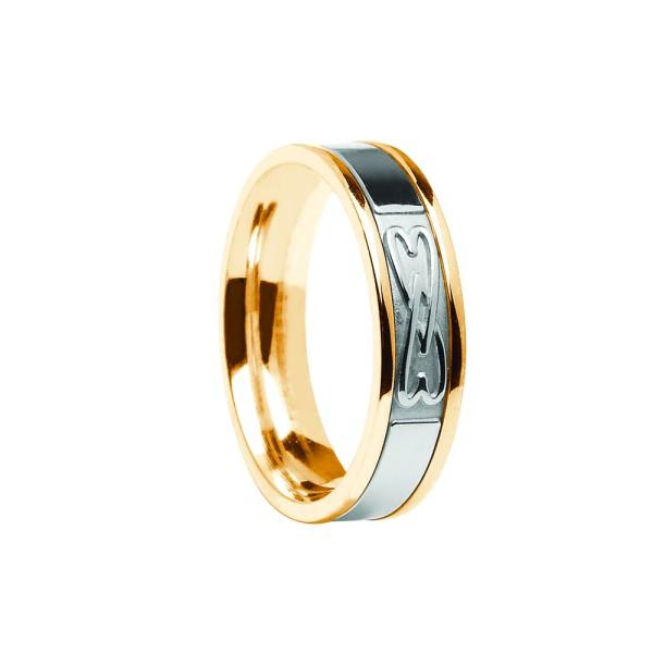 Keltischer Damenring Trauring mit Weißgoldzentrum und Goldrahmen