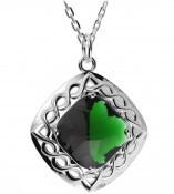 Irische Kette Silber gewobener Quarzanhänger grün