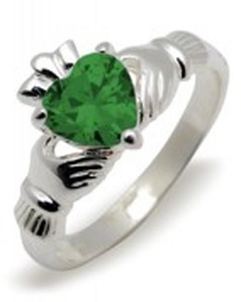 Irischer Claddagh Ring Geburtsstein Mai Silber 925