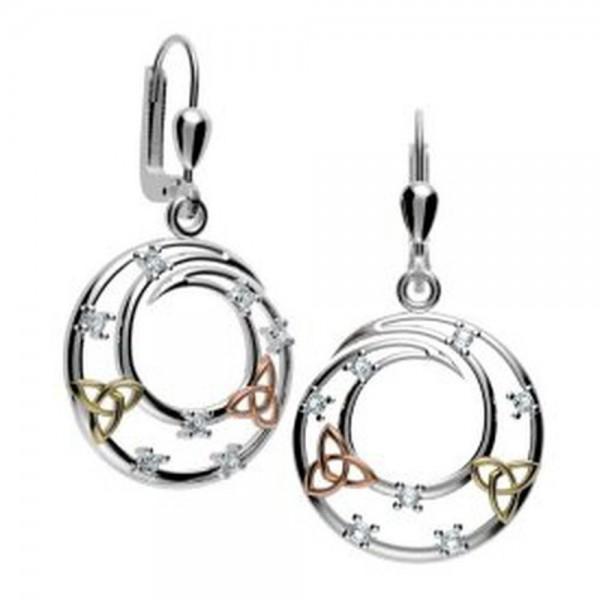 Irische Ohrringe Trinity Knot Silber vergoldet