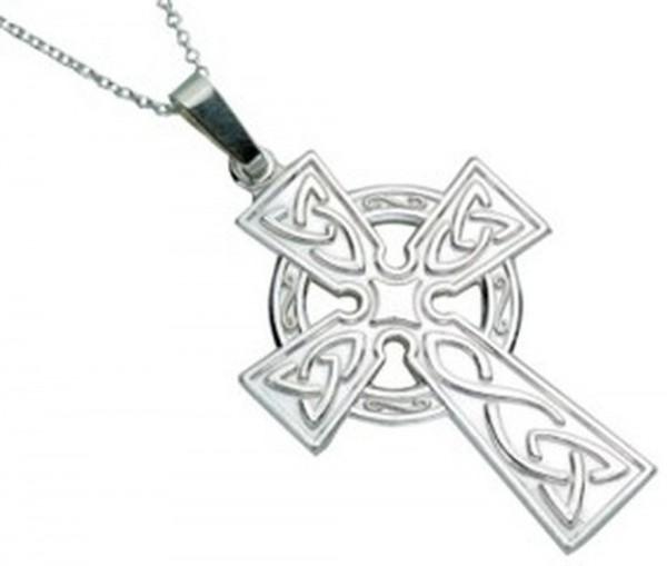 Irische Kette Keltisches Kreuz aus Silber 925 groß