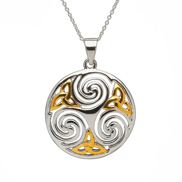 Keltische Kette Trinity Knot Silber vergoldet