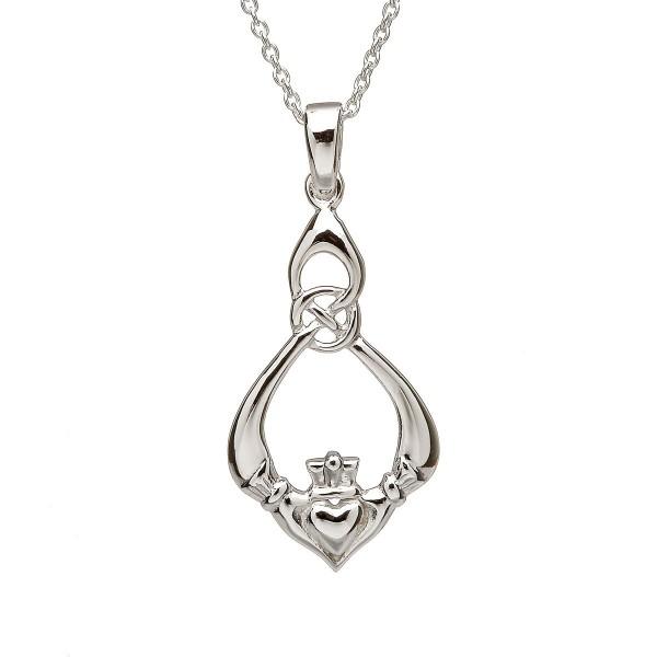 Irischer Claddaghanhänger mit Kette in Silber