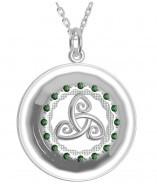 Keltischer Tir Na Nog Anhänger Silber 925 grüne