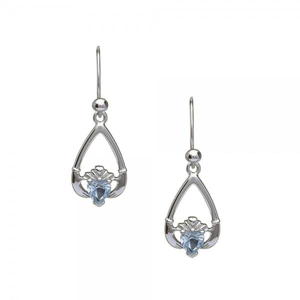 Claddagh Ohrringe Geburtsstein Aquamarine März Silber