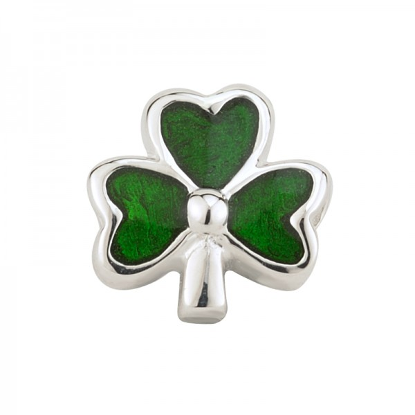 Celtic Bead grünes Kleeblatt Silber emalliert