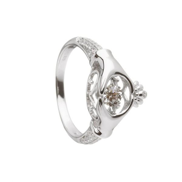 Irischer Ring aus der Damhsa Kollektion Trinity knot & Claddagh Ring mit Zirkon
